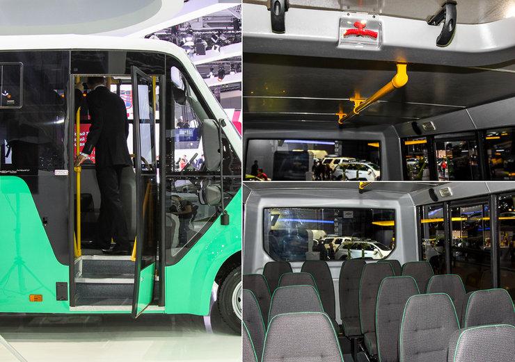 Обзорное фото - входная дверь, поручни и пассажирские сиденья