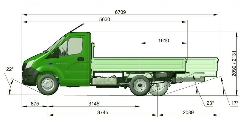 Размеры грузового автомобиля